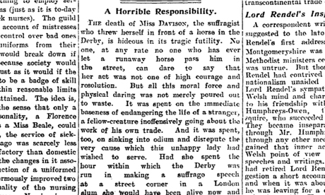 emily davison suicide or accident essay Emily wilding davison was perhaps the most and the deaths of emily wilding davison and herbert her death was an accident or suicide.