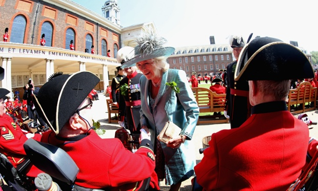Camilla, Duchess of Cornwall meets Chelsea Pensioners as she visits the Royal Hospital Chelsea to review The Founder's Day Parade in London.