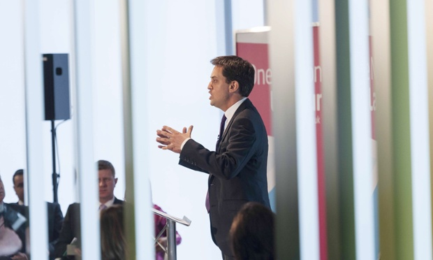 Ed Miliband delivers his speech on welfare reform at Newham council's offices.