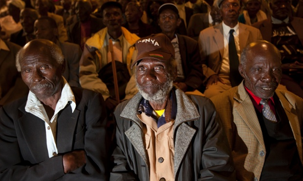 Mau-Mau veterans await a press conference about their legal case for compensation against the British Government, in Nairobi, Kenya. The British government is set to announce compensation for Kenyans abused during a rebellion against colonial rule in the 1950s.