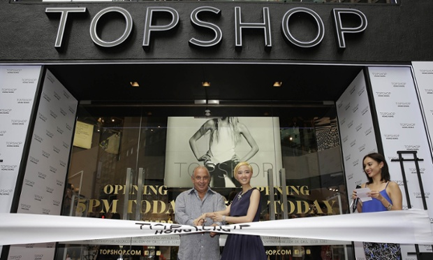 Sir Philip Green and Taiwanese actress Gwei Lun Mei (Topshop's first Asian ambassador) cut a ribbon to mark the opening of the new flagship store in Hong Kong.