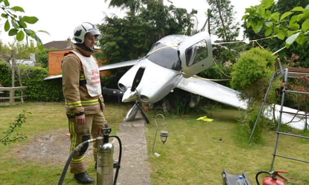 Talk about lucky escapes - the pilot of this Cirrus aircraft crash landed into a back garden in Cheltenham this morning and survived.  The 76-year-old man narrowly missed a nearby school and houses before smashing the single-engine Cessna in to a fir tree. The pilot sustained minor injuries and was treated at the scene by paramedics. No-one else was hurt.