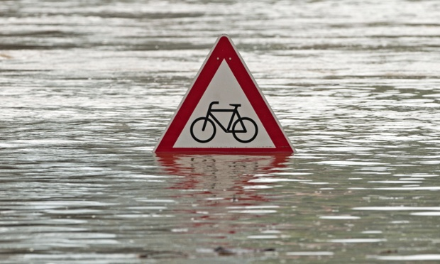 A traffic sign flooded by the river Elbe in Dresden, eastern Germany.