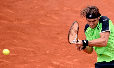 David Ferrer in action during the men's final match against his compatriot Rafael Nadal.