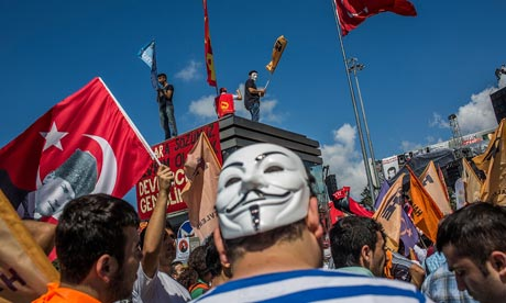 Protesters gather in Taksim Square, Istanbul, Turkey