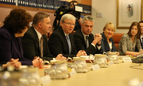 The Prime Minister Kevin Rudd at his first ministerial meeting in Parliament. The Global Mail.