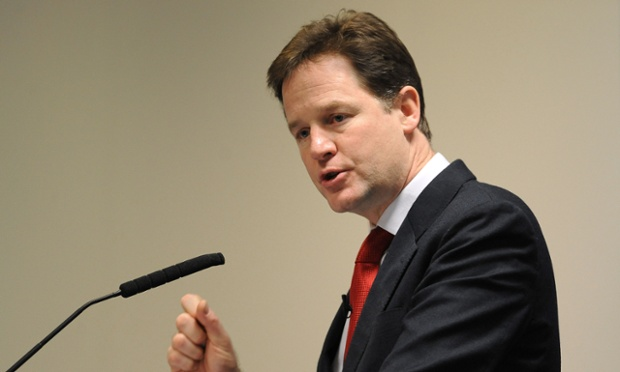 Nick Clegg is holding the first of what will be a series of monthly press conferences.