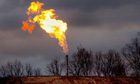 Gas flare burns at a fracking site in Pennsylvania