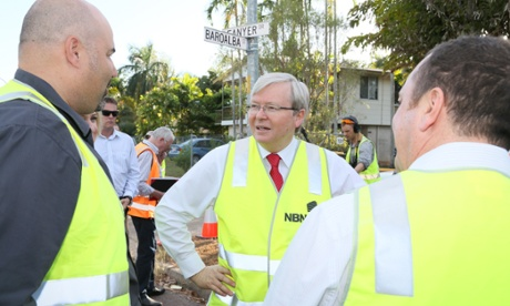Men at work: Kevin Rudd and the member for Solomon, Luke Gosling, visit a fibre haul site for local homes and businesses in Leanyer in Darwin.