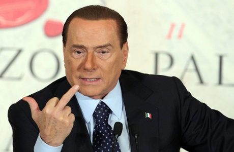 A file photo dated 12 December 2012 shows former Italian Prime Minister Minister Silvio Berlusconi gesturing during the presentation of a new book by Italian journalist Bruno Vespa, in Rome, Italy.