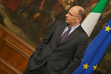 The Italian Premier Enrico Letta meets the European Commissioner for Internal Market and Services, Michel Barnier.