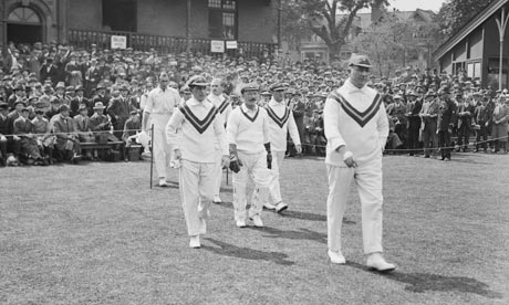 Australia captain Warwick Armstrong leads his team out in a Test match at Trent Bridge, May 1921