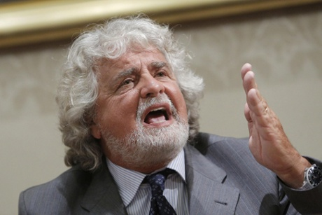 Leader of the 5 Star Movement (M5S) Beppe Grillo speaks during a press conference after his meeting with Italian President Giorgio Napolitano, in Rome, Italy, 10 July 2013.