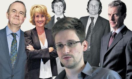 Bunch of cynics … Hislop, Brockovich, Bernstein, Snowden, Woodward and Tucker.