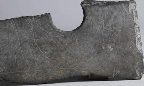 Markings on stone axe, from Zhejiang province, China