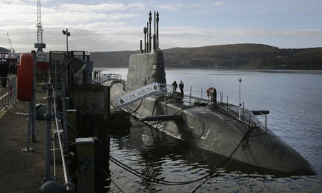 Nuclear-powered HMS Ambush at Faslane naval base