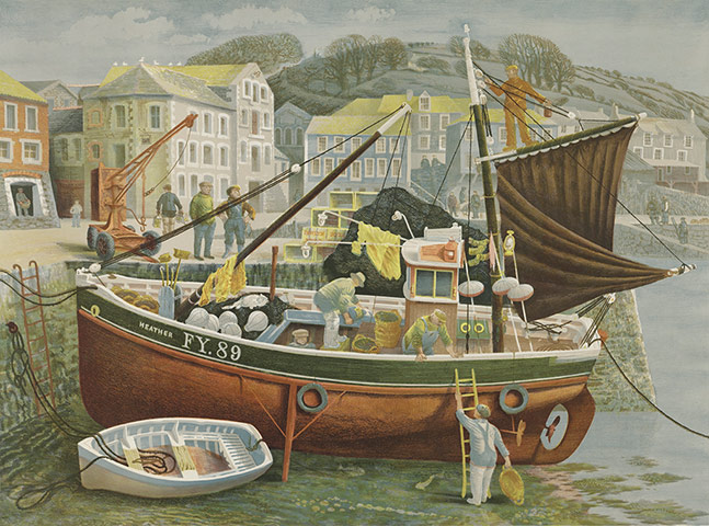 Lyons: David Gentleman, Cornish Pilchard Boat, c 1953-55