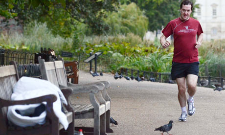 George Osborne jogging past a rough sleeper in St James's Park in 2011