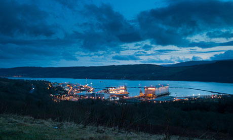 Faslane naval base in Scotland which hosts the UK's nuclear submarines