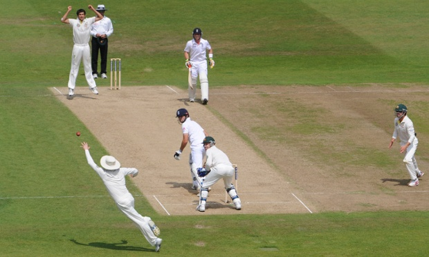 Michael Clarke leaps at slip to catch Alastair Cook off the bowling of Ashton Agar.