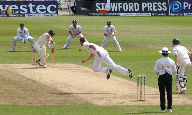 Stuart Broad, in full flight.