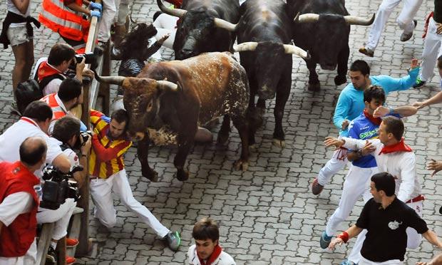 Spanish Bull Runners During Spanish Bull Run