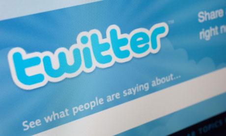 Twitter website on screen