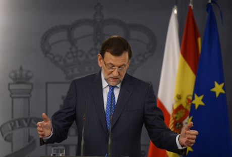 Spanish Prime Minister Mariano Rajoy gestures during a joint press conference with his Polish counterpart after their meeting at the Moncloa palace in Madrid on July 15, 2013. Sain's Prime Minister Mariano Rajoy today ruled out resigning over a corruption scandal rocking his government.  AFP PHOTO / PIERRE-PHILIPPE MARCOUPIERRE-PHILIPPE MARCOU/AFP/Getty Images