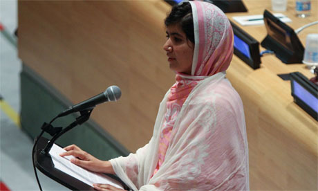 Malala Yousefzai speaking at the UN