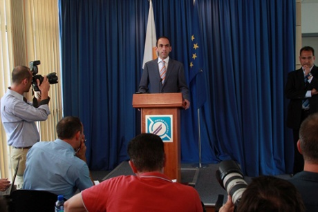 Cyprus' Minister of Finance, Haris Georgiades speaks during a press conference on July 16, 2013 in Nicosia, Cyprus.