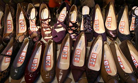 Discounted women's shoes at a department store