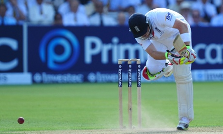 Ian Bell digs one out.