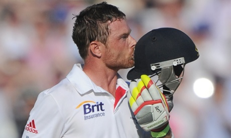 England's Ian Bell celebrates his century in the second Ashes Test.