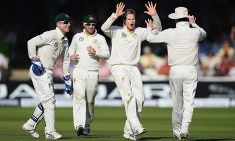 Steve Smith gets the wicket of Bell. 109 … again