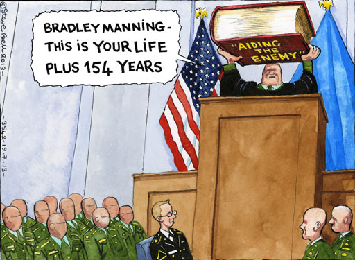 Steve Bell cartoon on Bradley Manning trial
