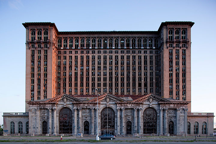 motor city blues: Abandoned Michigan Central Station in downtown