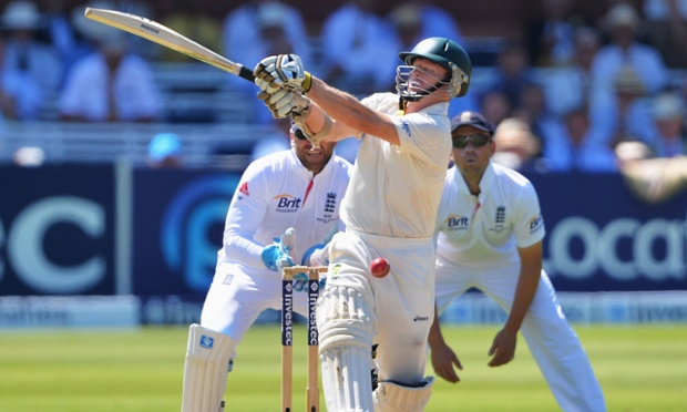 Chris Rogers falls to Graeme Swann.