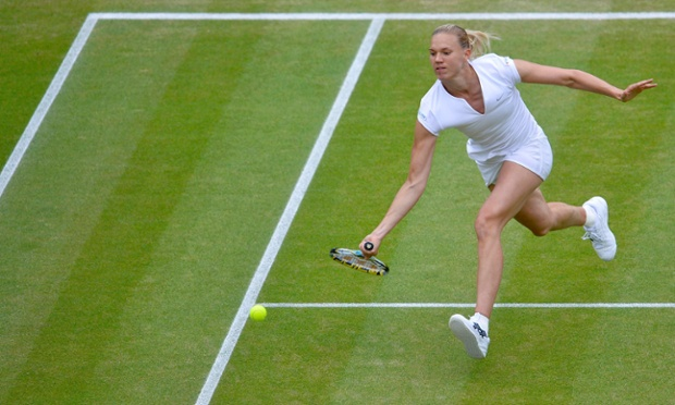 Kaia Kanepi on the run against Sabine Lisicki.