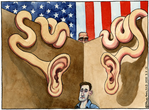 On the ongoing US surveillance row cartoon by Steve Bell