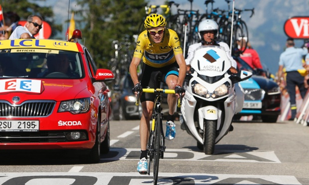 Team Sky's Chris Froome arrives at the end of the 20th stage of the Tour de France.