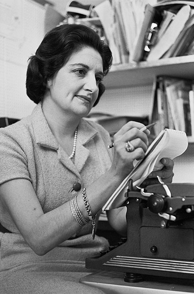 Helen Thomas, UPI Washington Reporter, at work in the White House