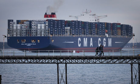A container ship, leaves Southampt