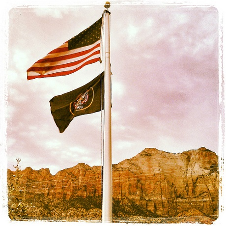 Flags at the edge of Zion.