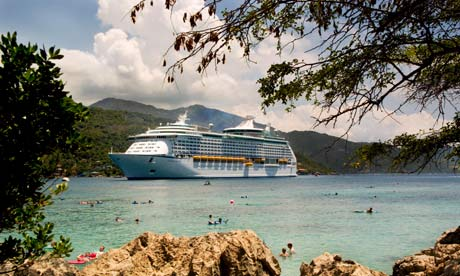 A cruise liner in Haiti