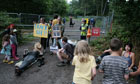 Protesters block the entrance to the fracking site