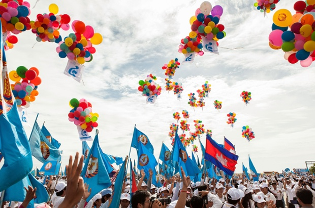 Supporters release balloons during a pre-election rally for the ruling Cambodian People's Party, on  in Phnom Penh, Cambodia.