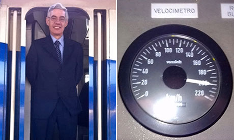 Spanish train driver Francisco Jose Garzon Amo and a speedometer reading he took previously