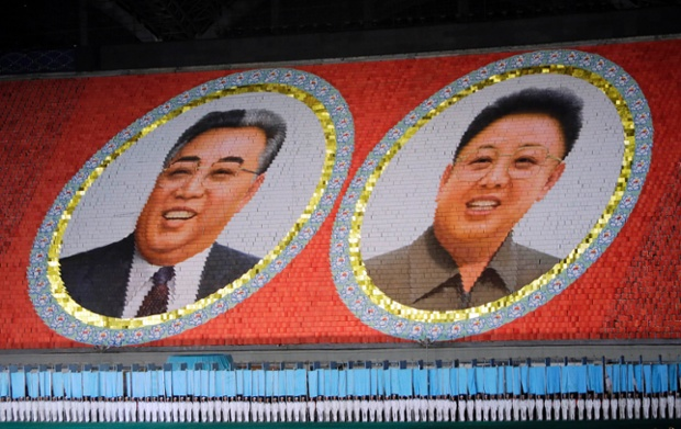 More from North Korea's stunning Arirang display in Pyongyang, part of the celebrations held to mark the 60th anniversary of the signing of a truce in the 1950-1953 Korean War. Students form portraits of late North Korean leaders Kim Jong-il and Kim Il-sung (L) Photograph: Jason