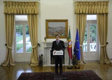 Portuguese Prime Minister Pedro Passos Coelho addresses the nation from his official residence at Sao Bento palace in Lisbon on July 2, 2013.
