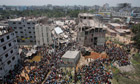 The collapsed Rana Plaza factory building in Bangladesh
